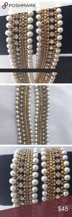 Nwot Polki gold polish anklet set NWOT anklets in gold polish, attached rhinestones and beads. Jewelry