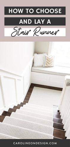 Learn how to choose the look of your stair runner and the ways to lay it. I share the best carpet styles, pattern considerations, and ways to lay a carpet on stairs to help you make choices today! #stairrunner #stairs Home Stairs Design, Stair Design, Foyer Design, House Design Photos, Interior Decorating Tips, Interior Design Tips, Stair Layout, Best Carpet, Carpet Styles