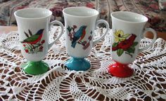 Vintage 1950s Retro Colorful Set of 3 Bird Coffee Mugs 10% Discount by BESTBUYONLINES, $25.00