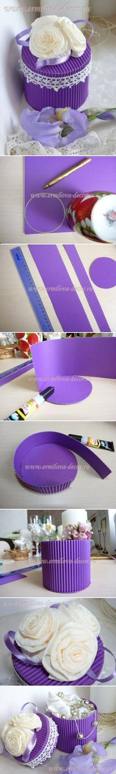 Discover thousands of images about DIY corrugated paper gift box Paper Gift Box, Diy Gift Box, Diy Box, Paper Gifts, Diy Paper, Diy Gifts, Paper Packaging, Paper Flowers, Diy Flowers