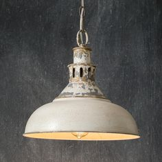 Distressed White Barn Pendant Light Measures: 14 dia Description: The Distressed White Barn Pendant Light includes 33 of chain and a canopy. This pendant lamp is designed to be hardwired: no plug is included. Requires a standard light bulb, not included. Light, Pendant Lamp, Metal Pendant Lamps, Industrial Pendant Lights, Pendant Light, Farmhouse Pendant, Hanging Pendant Lights, Farmhouse Pendant Lighting, Ceiling Lights