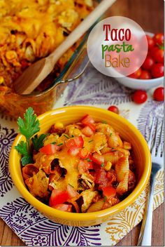 Taco Pasta Bake is easy, hearty, and a total crowd pleaser! #dinner