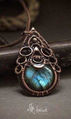 Wire wrapped necklace with labradorite