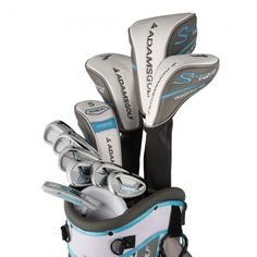 Golf Clubs Women With golf bag included these ladies speedline plus complete golf club sets by Adams also feature head covers for woods and hybrids and an aerodynamic-shaped driver Ladies Golf Clubs, New Golf Clubs, Golf Club Sets, Golf Club Reviews, Golf Card Game, Trendy Golf, Swing Trainer, Masters Golf, Sand Wedge