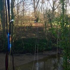 Structural steel cables established to run underneath #ropebridge #amazing #wowfactor Treehouse Life Ltd. create awesome Tree Houses Rope Bridges Tree-top Walkways and Nest Swings designed and built by Paul Cameron theoughout the UK and worldwide.