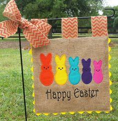 Custom Burlap Garden Flag Easter Family by sewgoddesscreations