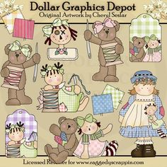 Stitchens and Stuffins Clip Art - $1.00 at www.DollarGraphicsDepot.com : Great for printable crafts, scrapbooking, patterns, hang tags, greeting cards, doll labels, web graphics, auction templates, and more!