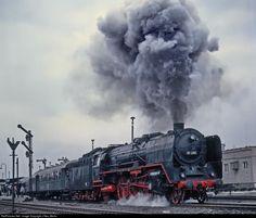 01 2204 Deutsche Reichsbahn Steam 4-6-2 at Bischofswerda, Germany by J Neu, Berlin