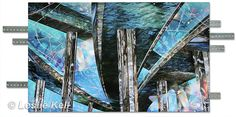"""Close Enough But Not Too Far, Echoes Collection, 24 x 40 mixed media: archival inks on canvas, acrylic paint, brushed steel :::  My newest collection, Echoes, began with designs featuring overpasses. I've always loved these soaring structures and their promises to transport a traveler to far-off destinations and then bring them home again.  The title for this piece was inspired by """"Burning Down the House"""" by the Talking Heads."""