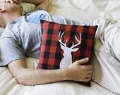 Deer Pillow on Red and Black Plaid Fabric - Black Friday Cyber Monday Sale. $37.00, via Etsy.