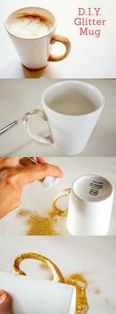 Learn how to make a glitter mug with Dishwasher Safe Mod Podge! This takes just a few minutes and is a perfect last minute gift idea.