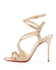"""Christian Louboutin Pre-Fall 2014 """"Audrey"""" strappy glitter red sole sandal in Poudre."""