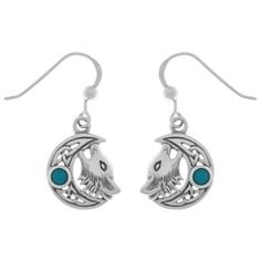 Jewelry Trends Sterling Silver Celtic Moon Howling Wolf Dangle Earrings with Created Turquoise #jewelrytrends