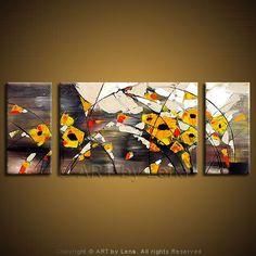 """Yellow Poppies"" - Original Flower Paintings by Lena Karpinsky, http://www.artbylena.com/original-painting/518/yellow-poppies.html"