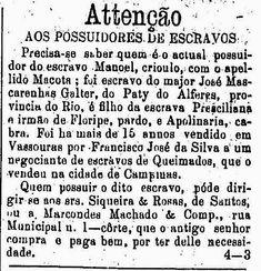 Anúncio de resgate de escravos publicado nos classificados do jornal 'O Estado…
