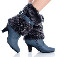 Blue Faux Fur Winter Chain Chunky Heel Womens High Heel Mid Calf Boots