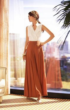 Palazzo (very wide leg pants) in office pants material instead of the usual work pants cutting - do you dare?