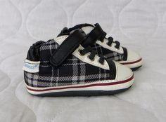 Infant Boys ROBEEZ Black Tartan Plaid High Top Mini Shoez Casual Shoes Size US 2 #Robeez #CasualShoes