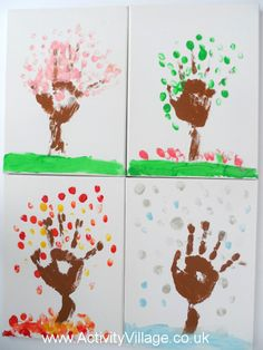 Season hand prints on 4 canvases