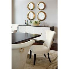 Laurette Modern Classic Double Gold Pedestal Dining Table. #kathykuohome