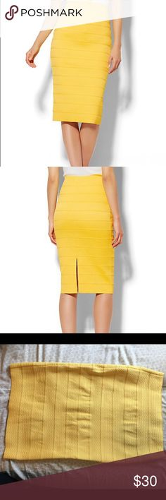 Yellow Bandage Pencil Skirt NWOT yellow bandage pencil skirt from NY and Company. Never used unworn. Thick material. Very stretchy. Slit in back New York & Company Skirts Pencil
