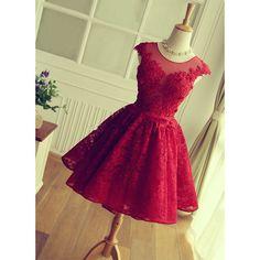 d9c130ca42a Élégantes robes de Cocktail en dentelle Scoop dos ouvert 2016 rouge robe de  Cocktail o - cou Cap manches Abendkleider réel photos robe de soirée de la  ...
