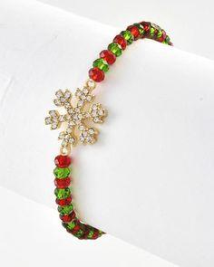 Gold Tone / Green & Red Glass Crystal / Clear Rhinestone / Lead&nickel Compliant / Christmas / Snowflake / Stretch Bracelet