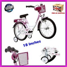 Pink Girls Bikes 18 Inch Child Girly Cruiser Kids Bicycle Seat Basket Reflectors