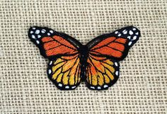 """Patches Butterfly Patch Embroidered Decal 3"""" Bright Orange Monarch Butterfly Iron On Patch for Jackets."""