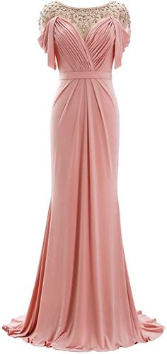 Amazon.com: MACloth Women Mother of The Bride Dress Short Sleeves Jersey Formal Evening Gown: Clothing Blush Evening Gown, Glamorous Evening Dresses, Evening Gowns With Sleeves, Blush Gown, Blush Formal Dresses, Formal Gowns, Short Sleeve Dresses, Prom Dresses, Short Sleeves