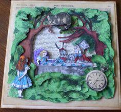 Handmade Alice in Wonderland card. Decoupaged from images of Lewis Caroll's Alice in Wonderland