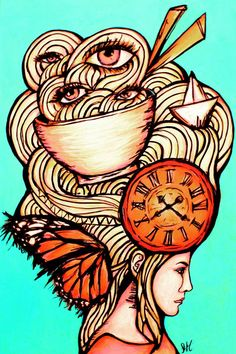 Noodle Monchis by Sofia Castellanos ©  #art #illustration #drawing #artist #noodles #food #clock #time #lady #perfect #pretty #monchis #love