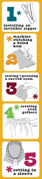 Sewing zippers, hem stitching, creating gathers, sewing sleeves, sewing seams