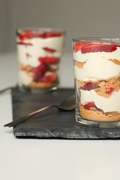 Strawberry buttercream graham cracker parfait