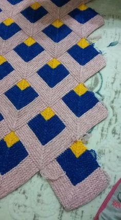 Ravelry: Project Gallery for A New Angle pattern by Woolly Thoughts - Salvabrani Crochet Quilt Pattern, Knit Crochet, Crochet Patterns, Knitting Patterns Free, Baby Knitting, Mitered Square, Patchwork Bags, Knitted Blankets, Quilts