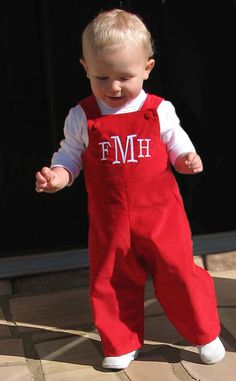 Corduroy John John Red getting ready for the cooler weather?  Adorable baby boutique clothes for baby boy!  Monogram it too! www.HarperGraceBaby.com
