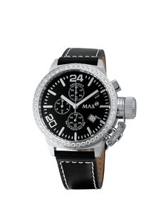 #MaxXLWatches Reference: 5-max503 Classic               Movement: Quartz movement             Diameter: 36 mm                                      Water rsistence: 50m                               Description: Stainless steel case, set with cubic Zirconia, mineral glass, chronograph, date, Black  dial.                                               Strap: Genuine black leather. Available at www.chronowatchcompany.com