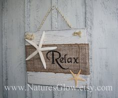This Relax burlap sign with starfish is great tropical and coastal décor for your home or beach house. Its also great for a bar or kitchen