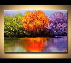 "50"" colorées paysage arbres Canvas Print Ready To Hang & embellie (brush strokes sont ajoutés par l'artiste) Osnat"