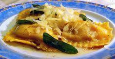 Pumpkin ravioli with sage brown butter
