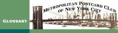 METROPOLITAN POSTCARD CLUB OF NEW YORK CITY GLOSSARY D