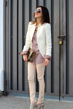 Lilac (?) shirt, peach pants