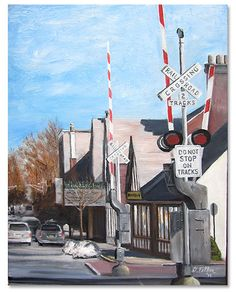 """RR Crossing,"" 2012, 18 x 14 inch oil on canvas by Donald Felber, depicting a railroad crossing in Upper Montclair on Bellevue Avenue"