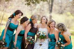 teal and brown for rustic wedding....love the colors,except it would be all one color in one dress