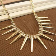 $11.48 Chic Long Rivet Pendant Diamante Alloy Necklace For Women