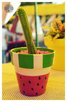 Maceta nº8 < Sandía > con cactus -