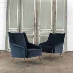 Pair of nice midcentury velvet armchairs New upholstery, nice blue velvet HB HS W D Velvet Armchair, Blue Velvet, Armchairs, French Antiques, Upholstery, Mid Century, Furniture, Home Decor, Wing Chairs