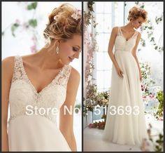 V neck Lace Chiffon Long Wedding Dress 2013