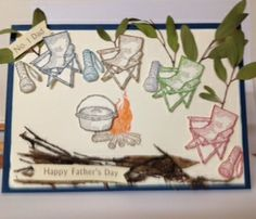 Stampin Up - The great outdoors stamp set Men's Cards, Stampin Up Cards, Craft Cards, Camping Cards, Camping Theme, Happy Fathers Day, Homemade Cards, The Great Outdoors, I Card