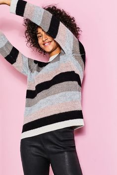 edc - Striped jumper with mohair and lurex at our Online Shop